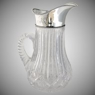 Beaded Ornate Water Pitcher Sterling Silver Cut Crystal Wilcox Silver Plate Co 1910