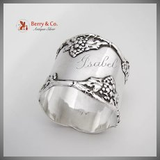 Grape Vine Napkin Ring Sterling Silver International 1900
