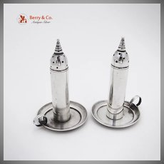 Figural Chamberstick Salt And Pepper Set Sterling Silver Old Crest
