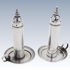 Figural Chamberstick Salt And Pepper Set Sterling Silver Old Crest