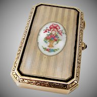 Ladies Cigarette Case Sterling Silver Enamel Theodore W Foster Bros 1910