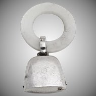 Baby Rattle And Teething Ring Sterling Silver Synthetic Mother Of Pearl Webster 1940