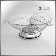 Three Sectional Serving Bowl Sterling Silver Cut Glass 1940