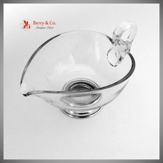 Swan Handled Creamer Sterling Silver Glass 1940
