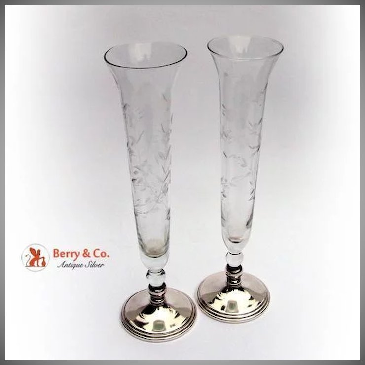 Pair Of Floral Acid Etched Trumpet Vases Sterling Silver Glass 1930