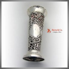 Large Ornate Floral Scroll Repousse Openwork Trumpet Vase Sterling Silver Glass 1898