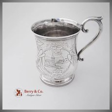 Aesthetic Floral Foliate Cup Coin Silver 1860