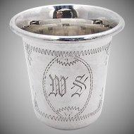 Engraved Vodka Shot Cup Sterling Silver 1900