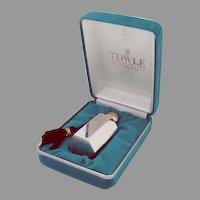 Art Deco Perfume Bottle Hexagonal Large Purse Size Towle Sterling Silver 1970