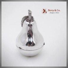 Italian Figural Pear Pill Box 800 Silver