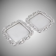 Pair Of Repousse Scroll Butter Pats Sterling Silver Mexico
