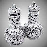 Repousse Salt and Pepper Shakers Sterling Silver Gorham 1888
