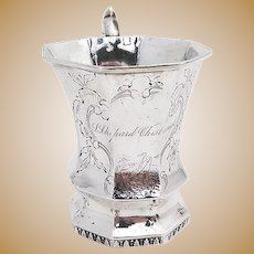 Coin Silver Floral Cup Van Ness Waterman 1835 New York