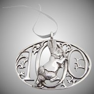 De Matteo Figural Rabbit Openwork Christmas Ornament Sterling Silver