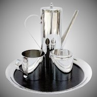 Modernist Coffee Set With Tray Silver Plate Boardman 1970