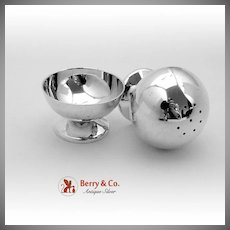 Ball Form Open Salt Dish And Pepper Shaker Sterling Silver Totten Sommer Co 1890