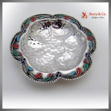 Hand Made Small Round Dish Sterling Silver Enamel