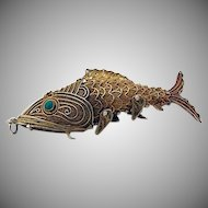 Unique Ornate Figural Filigree Articulated Fish Pill Box Gilt Sterling Silver Turquoise 1950