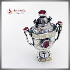 Antique Scandinavian Spice Box Sterling Silver Rhinestones 1822
