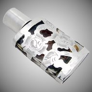 Openwork Floral Perfume Bottle Sterling Silver Glass Mexico 1960