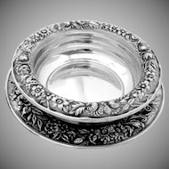 Repousse Baby Bowl With Under Plate Sterling Silver S Kirk Son 1940
