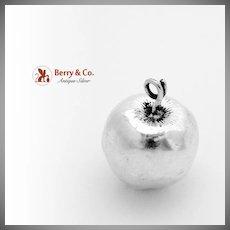 Figural Apple Baby Rattle German 830 Silver 1930