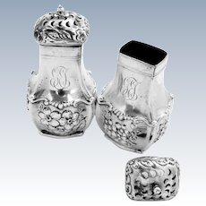 Ornate Repousse Salt And Pepper Shakers Sterling Silver Knowles 1890
