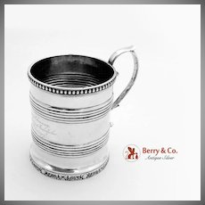 Antique Barrel Form Mug Coin Silver New York 1830