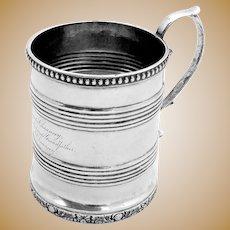 Antique Barrel Form Mug Coin Silver New York 1830