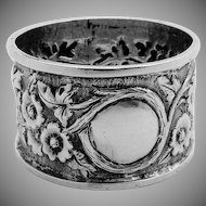 Ornate Floral Repousse Napkin Ring Sterling Silver Arthur Harris 1909