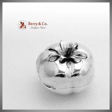 Figural Tomato Pill Box Italian 800 Silver 1960