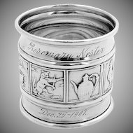 Mother Goose Nursery Rhyme Napkin Ring Sterling Silver Gorham 1907