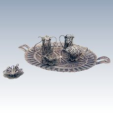Ornate Filigree Tea Set Figurines Silverplate 6 Pieces 1960