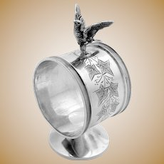 Standing Figural Bird Napkin Ring Sterling Silver Whiting 1875