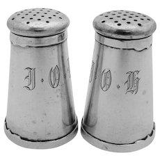 Arts And Crafts Salt Pepper Shaker Set Sterling Silver Shreve 1915