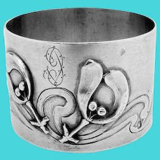 Art Nouveau Embossed Napkin Ring French Sterling Silver Louis Coignet 1890