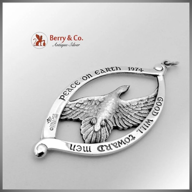 Peace On Earth Dove Christmas Tree Ornament Sterling Silver Wallace : Berry  & Company Antique Silver | Ruby Lane - Peace On Earth Dove Christmas Tree Ornament Sterling Silver Wallace