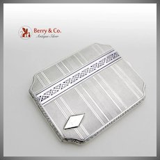 Engraved Cigarette Case 935 Sterling Silver Enamel 1930