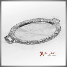 Ornate Rose and Scroll Oval Tray with Handles 800 Silver 1890