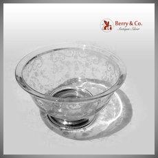 Ornate Large Serving Bowl Acid Etched Glass Sterling Silver Sheffield Silver Co 1940