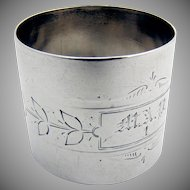 Engraved Foliate Large Napkin Ring Coin Silver 1880