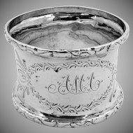 Engraved Foliate Napkin Ring Coin Silver 1860