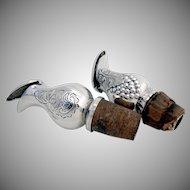 Danish Bottle Stopper Spouts Silver Plated Pair 1940