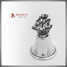 Ship Handle Dinner Bell Sterling Silver 1920