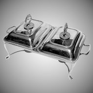 Vintage Elegant Double Chafing Dish Silver Plated England