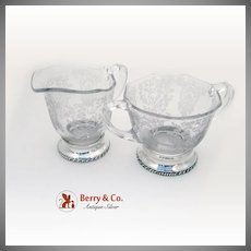 Chantilly Creamer Sugar Bowl Sterling Silver Etched Glass 2 Pieces 1940