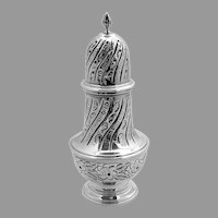Ornate Engraved Sugar Caster Shaker Sterling Silver DJS 1970
