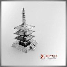 Figural Japanese Pagoda Salt Shaker Sterling Silver 1930