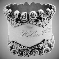High Relief Ornate Scroll Shell Napkin Ring Sterling Silver 1900