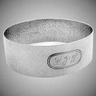 Arts And Crafts Large Hammered Napkin Ring Sterling Silver 1935